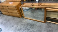 Wooden Water Bed Frame, Dresser And Mirror