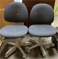 2 Blue And Grey Rolling Office Chairs