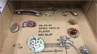4 Flats Of Costume Jewelry, Hat Pin, 3 Pcs