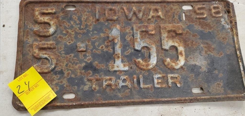 1958 trailer plate hefty auction service heftyauctionservice hibid com