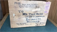 Antique Wooden Military Mailing Box 16x11x4""