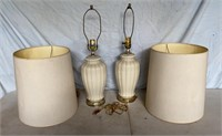 Two Glass Lamps with Two Drum Shades