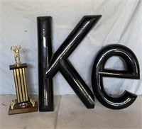 Plastic K and e, and Trophy