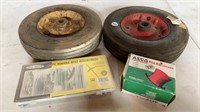 Hand Truck Wheels, Bolts, and Red Hat Valves
