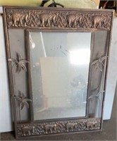 Wall Mirror with Metal Elephant and Palm Tree