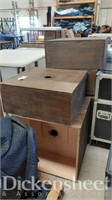(8) Wood boxes with hole in the middle,