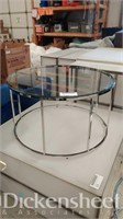 Round metal frame coffee table with