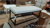White cushion metal frame bench seat