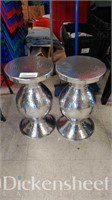 (2) Silver toned side tables/stools,