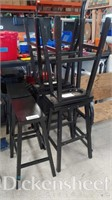 (6) Black stools with foot rests,