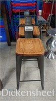 (3) Wood tone metal frame stools with