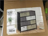 8 drawer wood and fabric dresser tri color