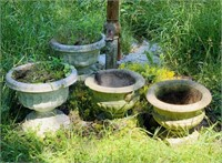 4 big Concrete Flower Pots, pots only, not pump