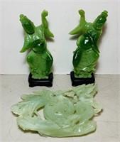 3 Carved Jade/AppleJade/Jadeite Carved Pieces