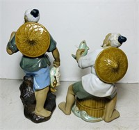 2 Hand Painted Ceramic Statues, marked 301 China,