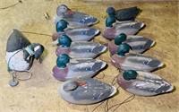 13 Duck Decoys,1 cork? Goose Decoy