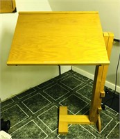 Oak drafting table, adjustable