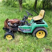 John Deere 265 Tractor, front end burned