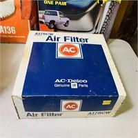 NOS Auto Parts, Vacuum Gauge, 4 Air Filters,