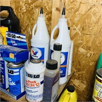 Lot of Oils, oil Changing Tools, Freon 12, etc
