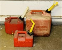 3 Gas Cans, 5 gallon and two 1 gallon