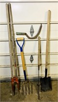 Shovel, Pitch Fork, Post Hole Digger, 2 weed