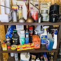 2 Metal Shelves w/ Contents