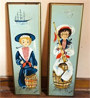 Hanging wooden sailor pictures