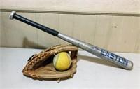 Cooper Softball, glove and aluminum bat