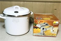 Marcato pasta dough roller and large metal pot