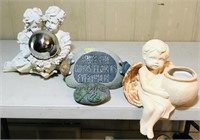 Gazing ball with statue, Angel flower pot and