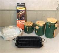 Jars, pan, s'more maker, bbq item