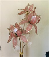 6 ft Tall Glass Flower Lamp, Works