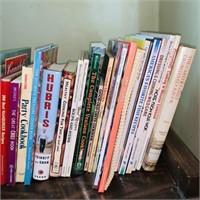 Lot of Cookbooks on Wood Cart