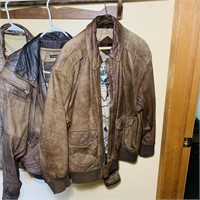 3 Leather Bomber Jackets, Size 44, Large, Large