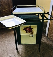 Metal and porcelain table on wheels, Heavy Duty