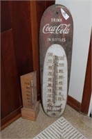 Lot of Two Vintage Coca-Cola Thermometers