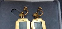 Pair of 10k Gold & Jade Stone Earrings