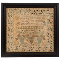 One of over 50 needlework samplers from the Vail estate