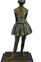 DEGAS SIGNED YOUNG FEMALE DANCER BRONZE SCULPTURE