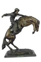 "FREDERIC REMINGTON ""WOOLY CHAPS"" BRONZE SCULPTURE"