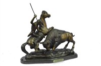 "C.M. RUSSELL ""BUFFALO HUNT"" BRONZE SCULPTURE"