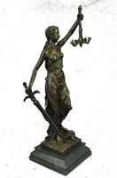 BLIND LADY JUSTICE LARGE BRONZE SCULPTURE