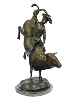 THOMAS WEST BULL RIDING COWBOY BRONZE SCULPTURE
