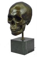 P.MANSHIP SKELETON HEAD BUST BONE BRONZE SCULPTURE