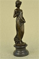 MOREAU ART NOUVEAU YOUNG LADY BRONZE SCULPTURE
