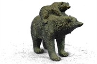 MOTHER BEAR WITH CUBS BRONZE SCULPTURE