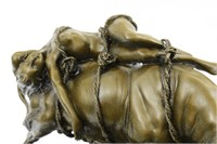 MILO NUDE WOMAN ON BULL BRONZE SCULPTURE