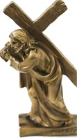 JESUS CARRYING CROSS BRONZE FIGURINE STATUE