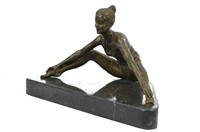 A.GORY STRETCHING HOT CAST BRONZE SCULPTURE